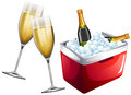 Champagne glasses and icebox Royalty Free Stock Photo