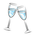 Champagne glasses means sparkling wine en viering Stock Afbeeldingen