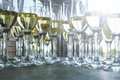 Champagne glasses for reception event waiting guests at the wedding Royalty Free Stock Photography