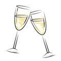 Champagne glasses represents sparkling wine y alcohol Fotografía de archivo libre de regalías