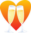 Champagne heart Royalty Free Stock Image