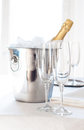 Champagne in an ice bucket Royalty Free Stock Photo
