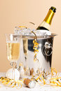 Champagne ice bucket and crystal glass Royalty Free Stock Photo