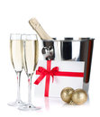 Champagne, letter and christmas baubles Royalty Free Stock Photography