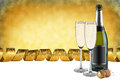 Champagne party bottle of glasses and cork in front of golden background Stock Photography