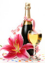 Champagne and pink lily Royalty Free Stock Image