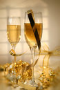 Champagne and ribbons/ Soft focus Stock Image