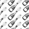 Champagne seamless pattern. Bottle explosion. Hand drawn isolated vector