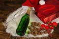 Champagne still life bottle of surrounded by a christmas Stock Photos