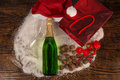 Champagne still life bottle of surrounded by a christmas Stock Photography
