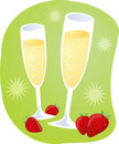 Champagne and strawberries Stock Images