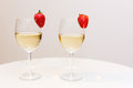 Champagne and strawberry ready for drink Stock Image