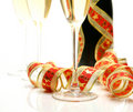Champagne and tape Stock Images