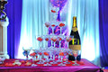 Champagne tower on wedding celebration Royalty Free Stock Photography