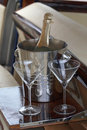 Champagne and two glasses Royalty Free Stock Photo