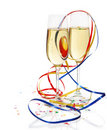 Champagne in two glasses with streamers Stock Photos