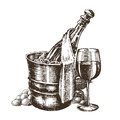Champagne on a white background sketch illustration Royalty Free Stock Image