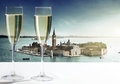 Champaign glasses of and venice Royalty Free Stock Photography