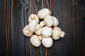 Champignon mushroom on wooden background Royalty Free Stock Photo