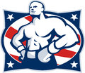 Champion american boxer akimbo retro illustration of a hands on hip viewed from front set inside oval with stars and stripes done Stock Images