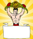 Champion Boxer With Sign Royalty Free Stock Images