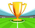 Champion cup in the midfield of football stadium vector Royalty Free Stock Photo