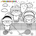 Champion kids tennis players at tennis court holding trophy coloring book page