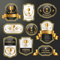 Champion labels set collection luxury over black background Stock Image