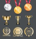 Champion Medals Collection Vector Illustration Royalty Free Stock Photo