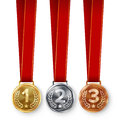 Champion Medals Set Vector. Metal Realistic First, Second Third Placement Achievement. Round Medals With Red Ribbon, Relief Detail