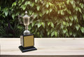 Champion silver trophies on wood table with lighting victory. Royalty Free Stock Photo