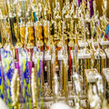Champion trophies abstract on shelf display Royalty Free Stock Photo