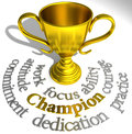 Champion trophy winning success words victory are qualities of a champions Royalty Free Stock Photos