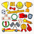 Champions Doodle with Medals, Prize and Podium. Sports Elements Set