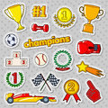 Champions Doodle with Medals, Prize and Podium. Sports Stickers, Badges and Patches