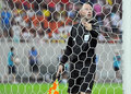 Champions league steaua bucharest dinamo tbilisi the icelandic fifa referee sigurdur oli torleifsson checks the net during the Stock Photo