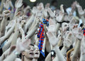 Champions league steaua bucharest dinamo tbilisi rised hands of supporters pictured during the qualifier game between romania and Royalty Free Stock Photo