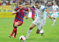Champions league steaua bucharest dinamo tbilisi s adrian popa l and s david kvirkvelia r pictured in action before the qualifier Royalty Free Stock Photography