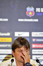 Champions league steaua bucharest dinamo tbilisi s coach dusan uhrin reacts during the press conference held after the qualifier Royalty Free Stock Photo