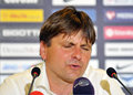 Champions league steaua bucharest dinamo tbilisi s coach dusan uhrin reacts during the press conference held after the qualifier Royalty Free Stock Image
