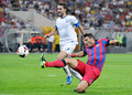 Champions league steaua bucharest dinamo tbilisi s federico piovaccari r and s ustaritz l pictured in action the qualifier game Royalty Free Stock Photos