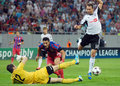 Champions league steaua bucharest legia warsaw s federico piovaccari and s jakub wawrzyniak pictured in action during the uefa Royalty Free Stock Images