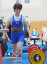 Championship of russia on powerlifting in moscow june athlete korolevskaya natalya action during the russian event june Stock Photography