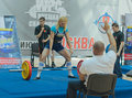 Championship of russia on powerlifting in moscow june athlete umerenkova julia action during the russian event june Stock Photo