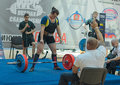 Championship of russia on powerlifting in moscow june athlete yaroshenko irina action during the russian event june Stock Photos