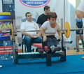 Championship of russia on powerlifting in moscow june participation persons with disabilities action during the russian event Stock Images