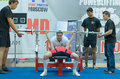 Championship of russia on powerlifting in moscow june unidentified athlete action during the russian event june Royalty Free Stock Photography
