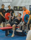 Championship of russia on powerlifting in moscow june unidentified athlete action during the russian event june Royalty Free Stock Photo