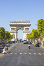 The champs élysées and the arc de triomphe most famous avenue of paris has m is full of stores cafés restaurants Stock Image