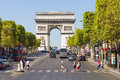 The champs élysées paris and arc de triomphe on september in france most famous avenue of has m and is full of Royalty Free Stock Images